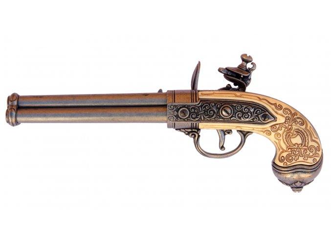 Replika Pistole trojhlavňová s křesacím zámkem