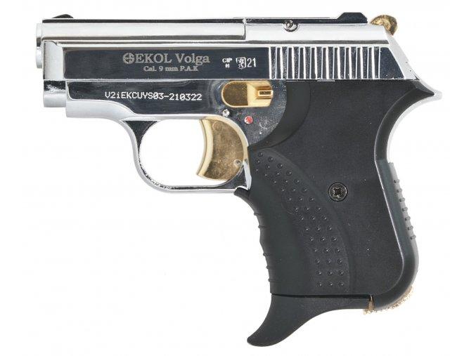 Plynová pistole Ekol Agent Volga chrom gold s rytinou cal.9mm