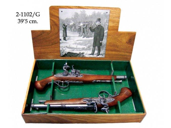 Replika křesadlová pistole soubojová set 18. století