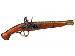 Replika Pistole křesadlová Německo 18.stol. zlatá