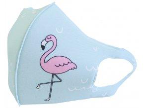Rouška Premium Flamingo, dětská, pratelná