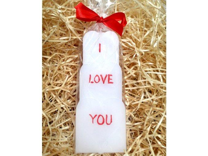 Srdíčková svíčka s nápisem I LOVE YOU - geometrická - 18,5 cm
