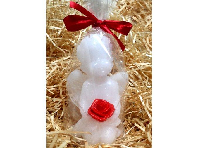 Svíčka - anděl s malovanou růží 12 cm