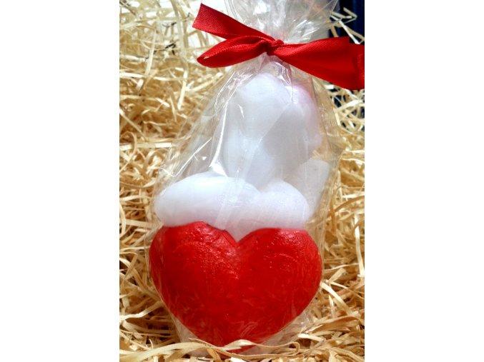 Svíčka - anděl s malovaným srdcem 13 cm