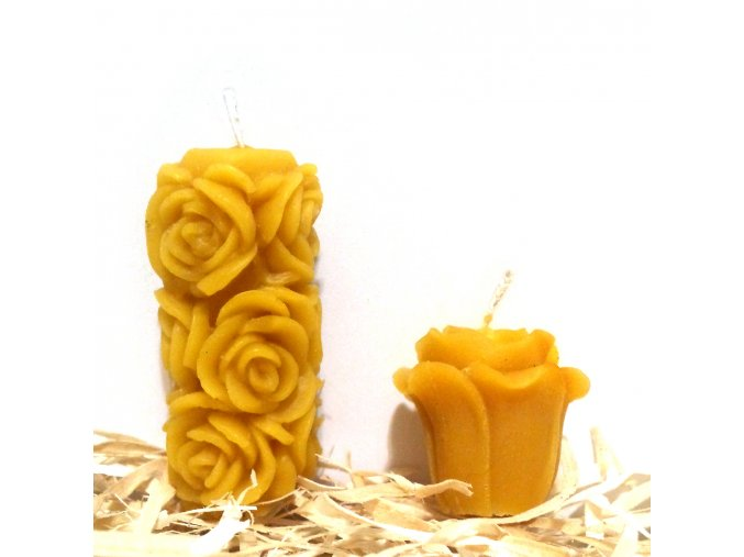 Sada svíček ze včelího vosku - malá růžička + malý růžičkový válec