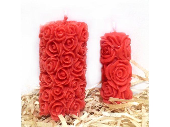Sada svíček z parafínu - růžičky válec + malý růžičkový válec