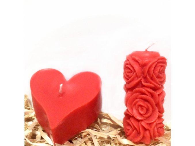 Sada svíček z parafínu - srdíčko + malý růžičkový válec