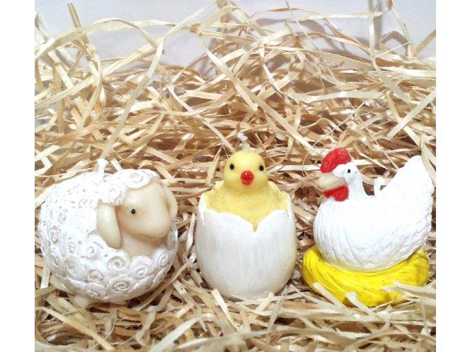 Sada svíček - beránek, kuřátko a slepička