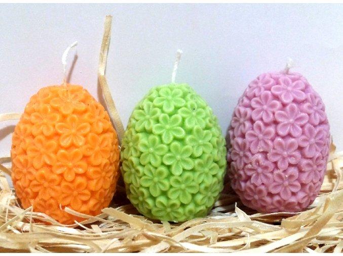 Sada svíček - tří barevných květovaných vajíček - a