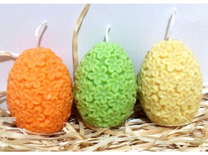 Sada svíček - tří barevných květovaných vajíček - b