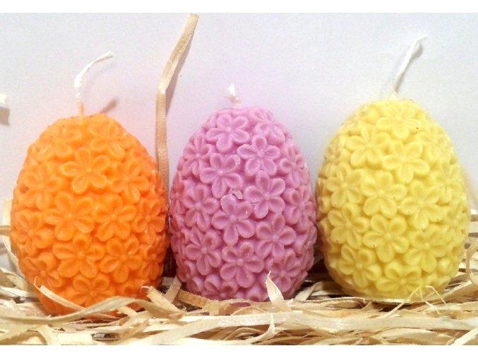 Sada svíček - tří barevných květovaných vajíček - e