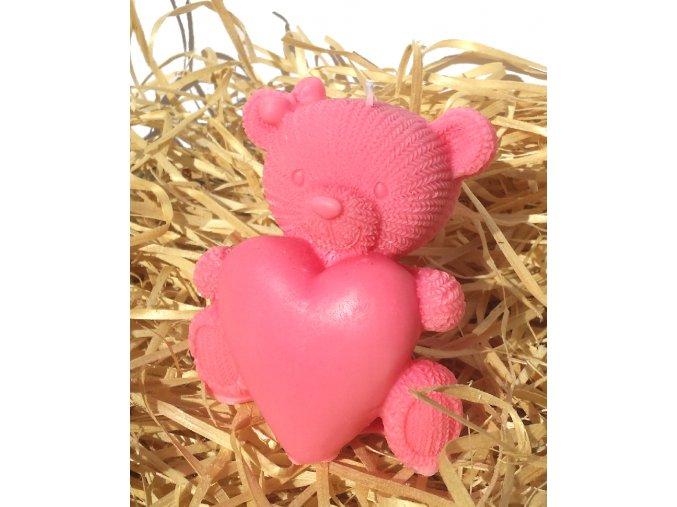 Svíčka - medvídek se srdcem růžový