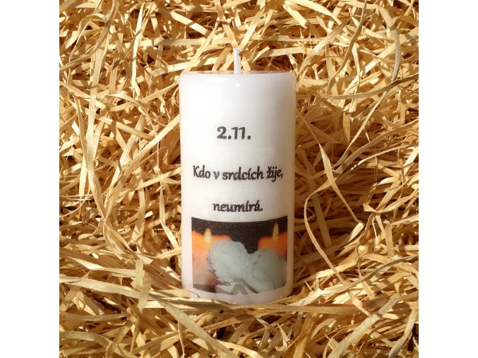 Svíčka válec na Dušičky - pietní - 9,5 x 5 cm