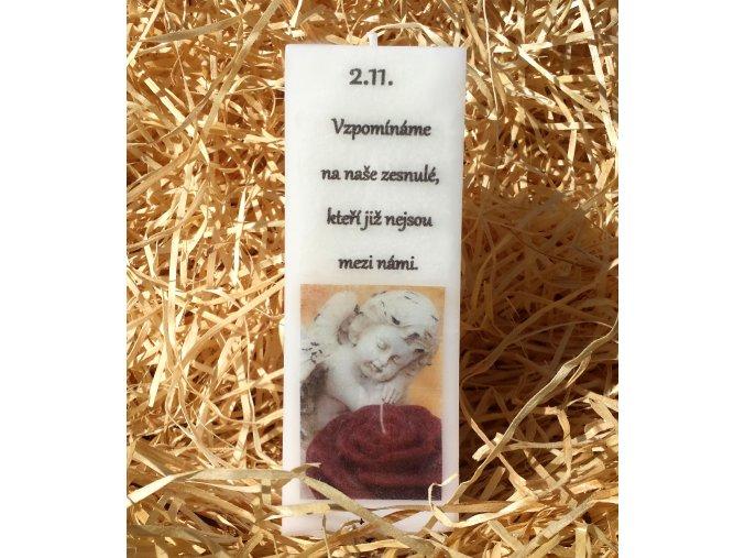 Svíčka kvádr na Dušičky - pietní - 16 x 5,7 cm