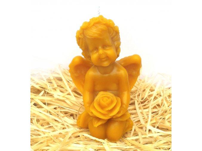 Svíčka ze včelího vosku - anděl s růží