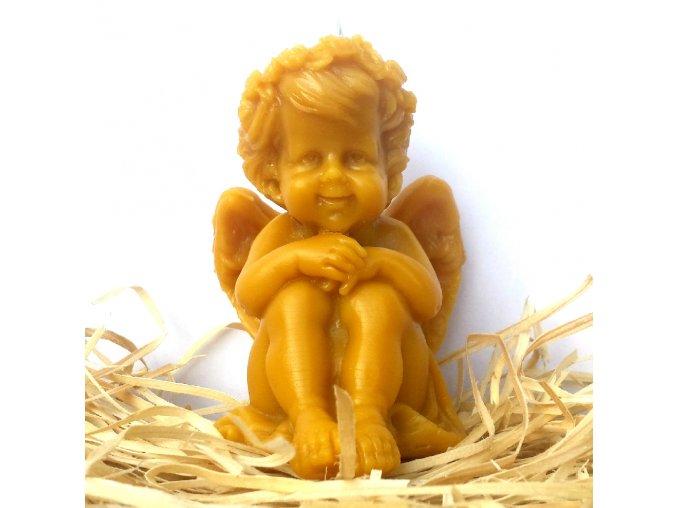 Svíčka ze včelího vosku - sedící anděl