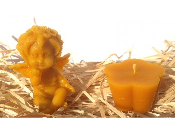Sada svíček ze včelího vosku - andílek posílající pusu + květ