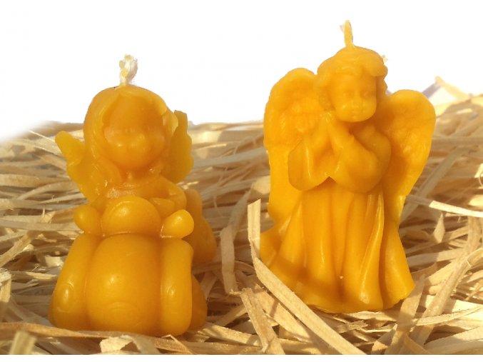 Sada svíček ze včelího vosku - andílek - ochránce řidičů + malý andílek