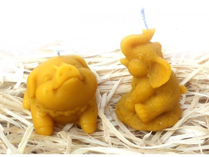 Sada svíček ze včelího vosku - prasátko s motýlkem + malý slon