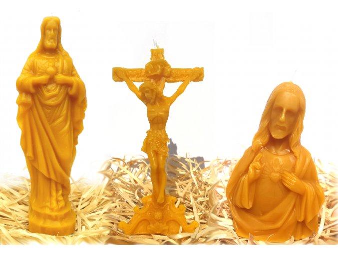 Sada tří svíček ze včelího vosku – Ježíš velký + Ježíš Kristus na kříži + Ježíš