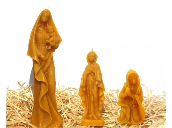 Sada tří svíček ze včelího vosku – Panna Marie s Ježíškem + Panna Marie + modlící se Panna Marie