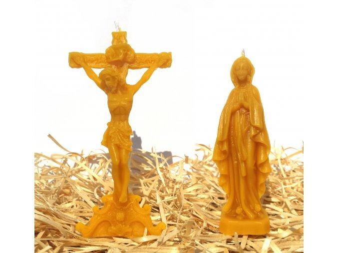 Sada dvou svíček ze včelího vosku – Ježíš Kristus na kříži + Panna Marie