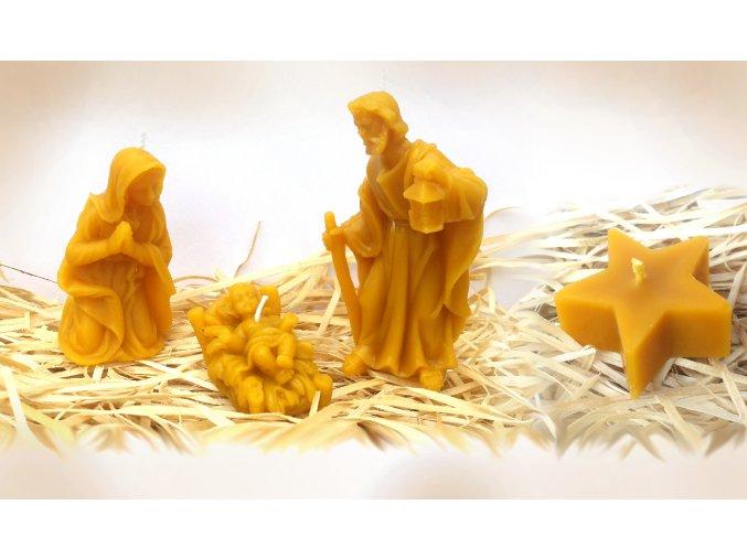 Sada čtyř svíček ze včelího vosku – modlící se Panna Marie + Ježíšek + Josef + hvězda