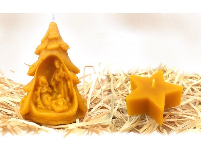 Sada dvou svíček ze včelího vosku – betlém ve stromečku + hvězda