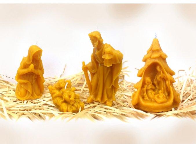 Sada čtyř svíček ze včelího vosku – modlící se Panna Marie + Ježíšek + Josef + betlém ve stromečku