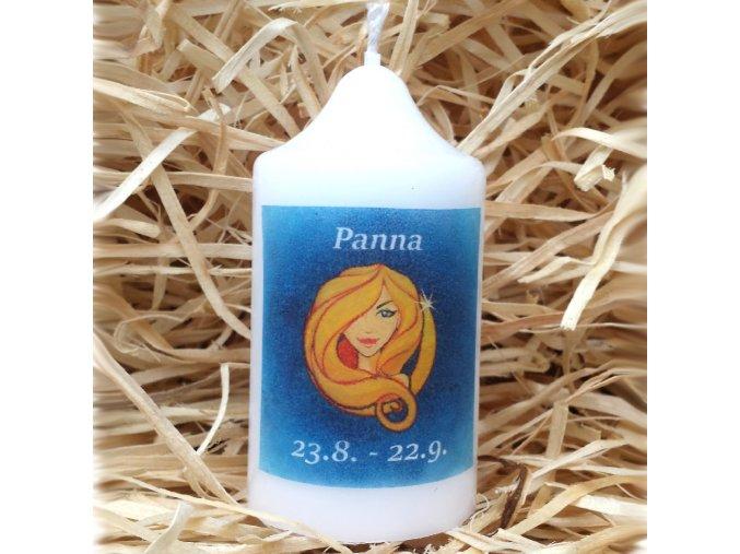 Svíčka se znamením zvěrokruhu - panna - 8,2 x 4,9 cm - modrá