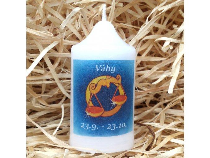Svíčka se znamením zvěrokruhu - váhy - 8,2 x 4,9 cm - modrá