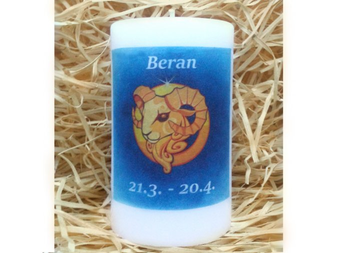 Svíčka se znamením zvěrokruhu - beran - 11,5 x 7 cm - modrá