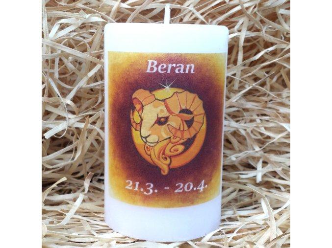 Svíčka se znamením zvěrokruhu - beran - 11,5 x 7 cm - oranžová