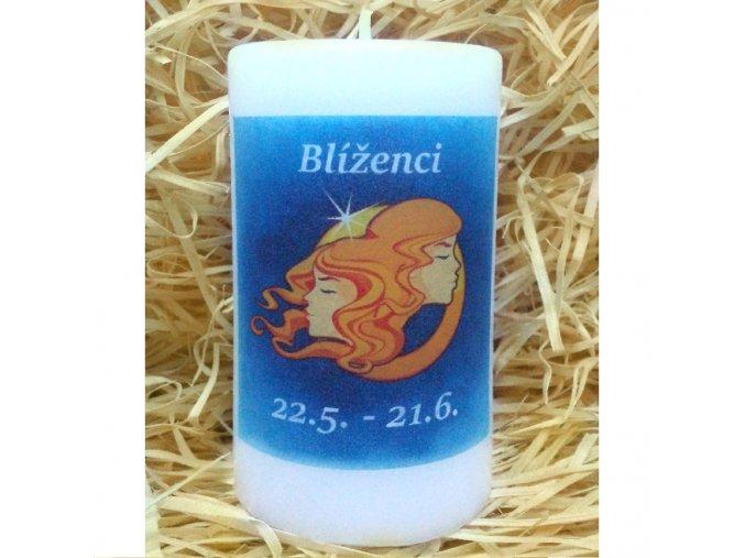 Svíčka se znamením zvěrokruhu - blíženci - 11,5 x 7 cm - modrá