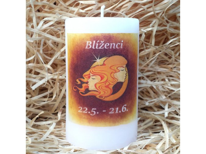 Svíčka se znamením zvěrokruhu - blíženci - 11,5 x 7 cm - oranžová