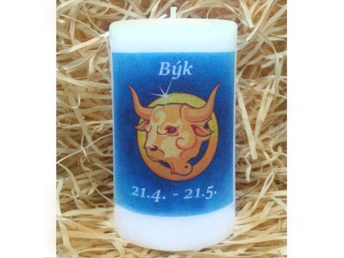 Svíčka se znamením zvěrokruhu - býk - 11,5 x 7 cm - modrý