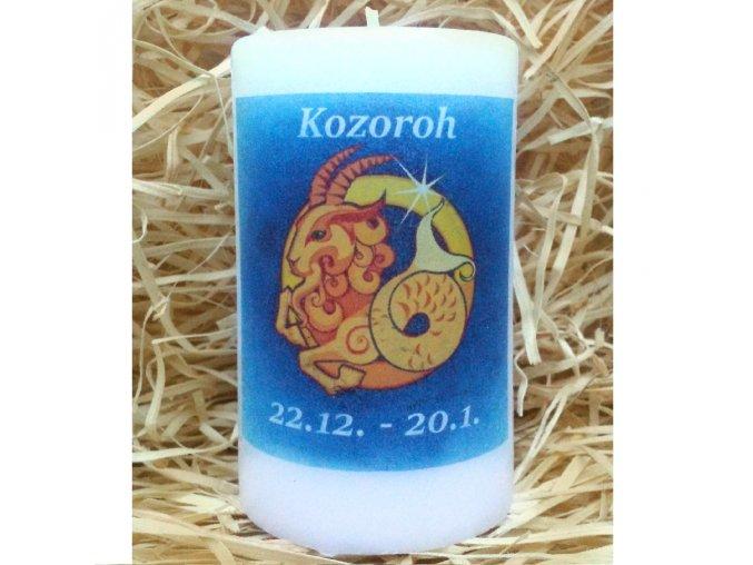 Svíčka se znamením zvěrokruhu - kozoroh - 11,5 x 7 cm - modrá