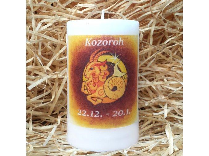 Svíčka se znamením zvěrokruhu - kozoroh - 11,5 x 7 cm - oranžová