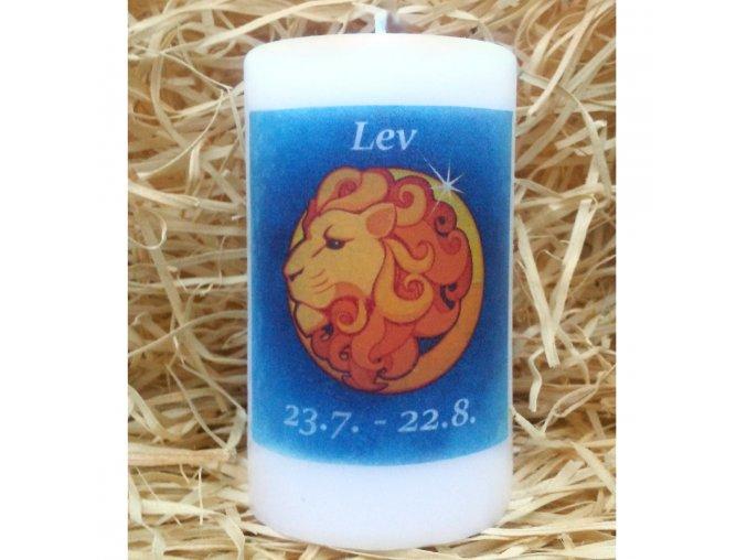 Svíčka se znamením zvěrokruhu - lev - 11,5 x 7 cm - modrá