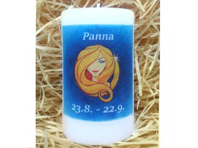 Svíčka se znamením zvěrokruhu - panna - 11,5 x 7 cm - modrá