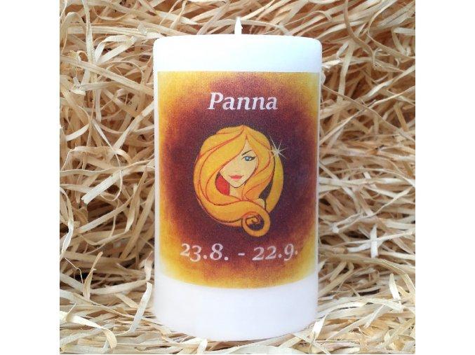 Svíčka se znamením zvěrokruhu - panna - 11,5 x 7 cm - oranžová