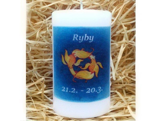 Svíčka se znamením zvěrokruhu - ryby - 11,5 x 7 cm - modrá