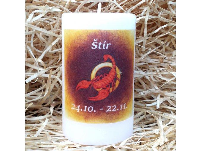 Svíčka se znamením zvěrokruhu - štír - 11,5 x 7 cm - oranžová