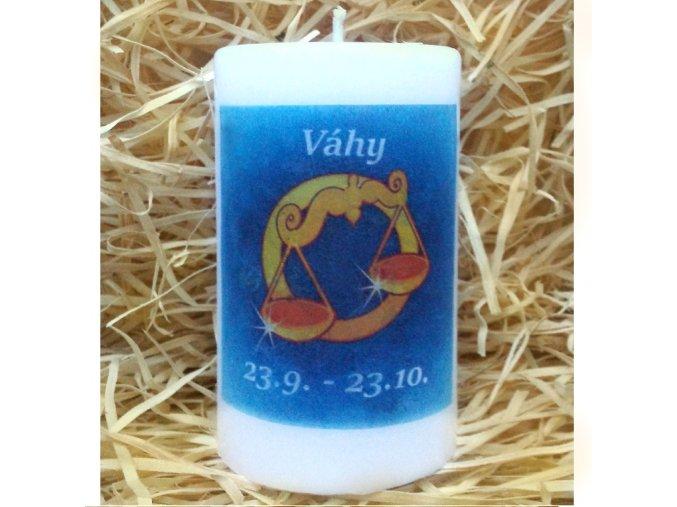 Svíčka se znamením zvěrokruhu - váhy - 11,5 x 7 cm - modrá