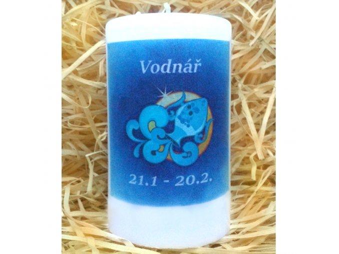 Svíčka se znamením zvěrokruhu - vodnář - 11,5 x 7 cm - modrá