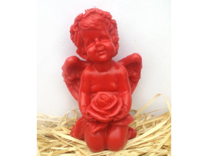 Svíčka - anděl s růží červený 12 cm