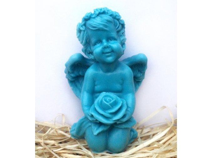 Svíčka - anděl s růží modrý 12 cm