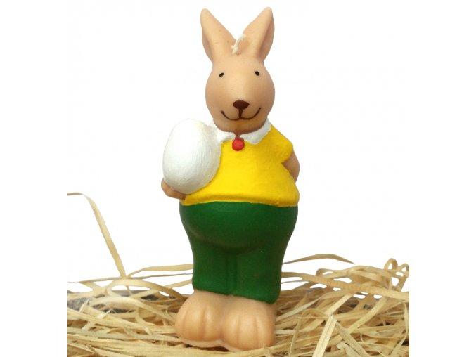 Ručně malovaná svíčka - zajíc s vajíčkem 13 cm