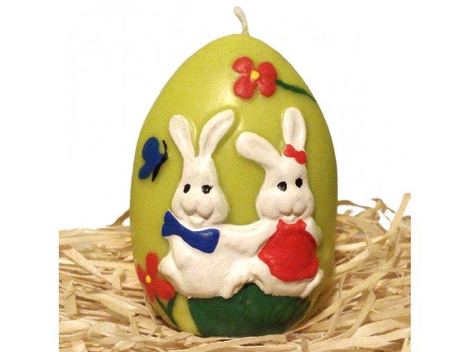 Ručně malovaná svíčka s reliéfem - vajíčko se zajíčky 8.5 cm