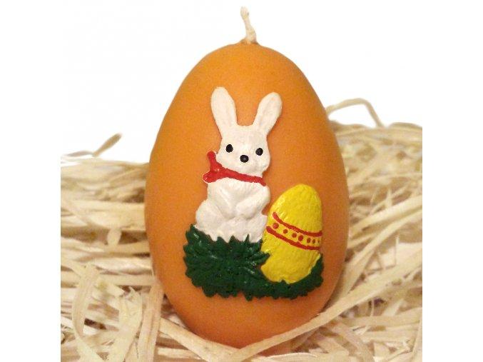 Ručně malovaná svíčka s reliéfem - vajíčko se zajíčkem 6.5 cm